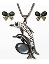 DollsofIndia Metal Chain with White Stone Studded Dolphin Pendant and Earrings - Metal And Stone - White