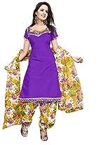 Krisha Print Women Unstitched Patiala Dress Material (Purple_Free Size)