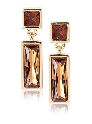 Judith Leiber Rectangular Amber Drop Earrings