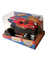 Hot Wheels Year 2013 Monster Jam 1:24 Scale Die Cast Official Monster Truck Series : SPIDER-MAN (T8522) with Monster Tires Working Suspension and 4 Wheel Steering (Dimension - 7 L x 5-1/2 W x 4-1/2 H)