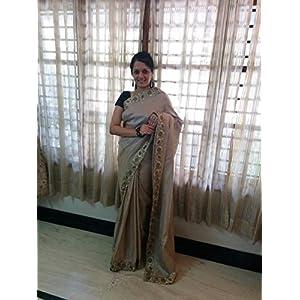 SevenFolds Cream Jute Silk Designer Saree