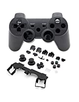 Super Custom Replacement Wireless Game Controller Shell Case Cover Kit For Play Station 3 Includes Button Set, Black