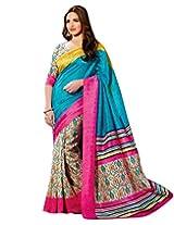 Brijraj Esha Deol, Blue Cream Pink Bhagalpuri Silk Beautifull Printed Saree With Unstitch Blouse