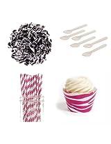 Dress My Cupcake Dessert Table Party Bundle, Mini, Wild Hot Pink Zebra Print