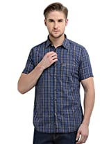 Sting Blue Checks Slim Fit Half Sleeve Cotton Casual Shirt