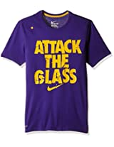 Nike AS SGX Attack Polyester Running T-Shirt, Men's Large (Violet and Yellow)