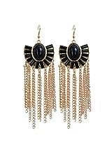 Jewel Touch Mink Black Fanshaped Tassels Charm Earings