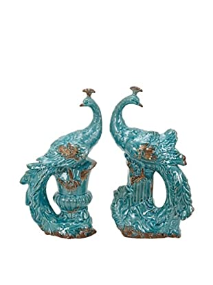 UMA Set of 2 Turquoise Ceramic Peacocks