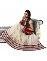 DesiButik's Wedding Wear Lovely Off-white Net Lehenga