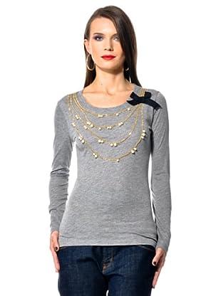 Love Moschino Camiseta Bordado Collana (gris)