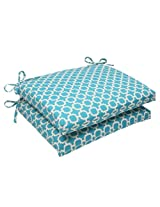 Pillow Perfect Indoor/Outdoor Hockley Squared Seat Cushion, Teal, Set of 2