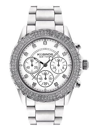 K&BROS 9553-5 / Reloj de Señora  con correa de plástico blanco