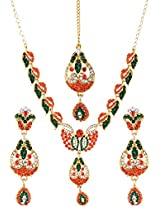 Lucky Jewellery Orange Green Alloy Chain Stylist Set With Maang Tikka for Women (1290-DSS-36284-OG)
