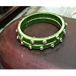 Silk thread parrot green Traditional Bangle Set of 2