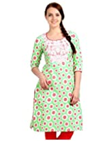 Estyle Women's Embroidered Kurta (Spring Green_Medium_913-01M_)