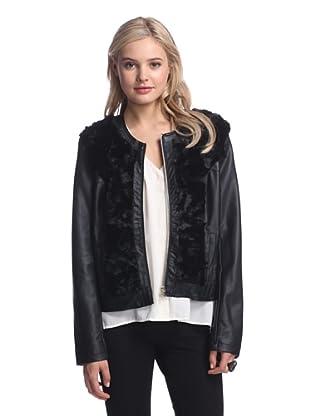 LatteBLACK  Women's Faux Leather Jacket with Faux Fur (Black)