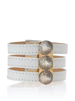 nOir White & Gold Triple Band 3-Pave Cone Bracelet
