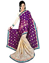 NAINA FASHION Brasso & Net Saree (2082_C_Purple)