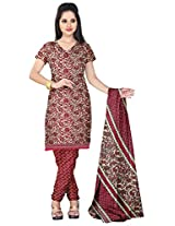 Prafful Women's Crepe Unstitched Dress Material (Cream and Maroon)