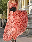 Rc Red Roses Print Maxi Dress With Belt RCCW1230059 Red