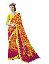 Orange & Yellow Colour Georgette Casual Wear Geometric Print Saree 12023