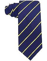 Scott Allan Men's Formal Pencil Stripe Necktie - Navy Blue and Yellow