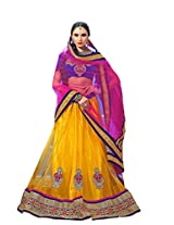 Kanheyas Yellow and Pink Net Semi Stitched Lehanga
