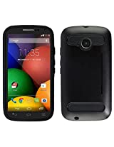 Zizo Moto E LTE 2nd Generation Durable TPU and PC Cover with Card Cutout as Kickstand - Retail Packaging - Metallic Black