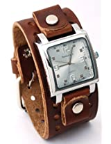 Nemesis #BB516S Men's Brown Wide Leather Cuff Band Analog Silver Dial Watch