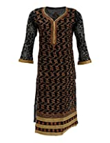 Chopra Enterprises Women's Cotton Kurti (CENS02_42, Black, 42)