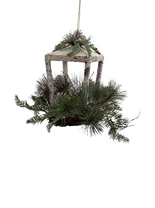 Melrose International Decorative Holiday Birch Lantern, Grey/Green