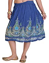 Exotic India Short Skirt With Printed Flowers and Embroidered Sequins - Color True BlueGarment Size Free Size