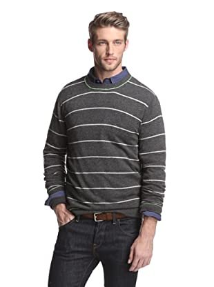 Kokun Men's Tipped Stripe Crewneck Sweater (Limesicle Combo)
