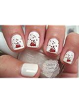 Valentine Red Hearts Nail Art Decals
