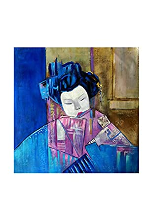 Legendarte Pintura al Óleo sobre Linezo Geisha