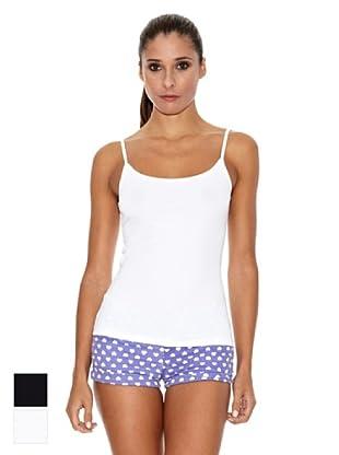 DIM  Pack X 2 Caraco Camiseta Tirantes (Blanco / Negro)