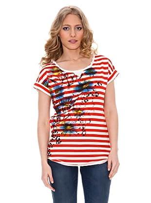 Springfield Camiseta Rayas y Flores (Rojo)