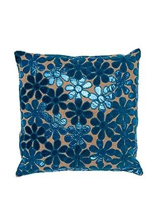 Cloud 9 Appliqué Flower Jute Throw Pillow, Natural/Blue