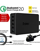 [Qualcomm Certified Quick Charger - Indian Pin] GeekTitan-Tronsmart® 54W 5 Ports Turbo USB Quick Desktop Charger for Galaxy S6/S6 Edge,Note 4/Edge, Nexus 6,HTC M9,Xperia Z4,Z3/ Z3 Compact, Xiaomi Mi4,Motorola Droid Turbo,Asus Zenfone 2,LG G4,LG G Flex2 (Included an 6ft 20AWG Micro USB Cable) - Black