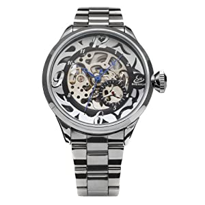 AMPM24 Skeleton Black Dial Mens Automatic Mechanical Stainless Steel Sport Wrist Watch PMW057