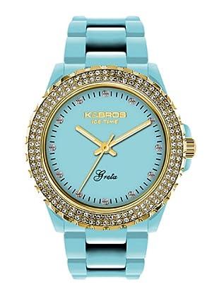 K&BROS 9552-5 / Reloj de Señora  con correa de plástico azul claro