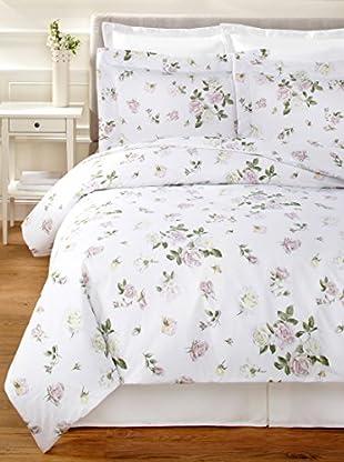 Dea Large Rose Duvet Set (White/Blush)