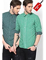 Green Casual Shirt (Reversible)