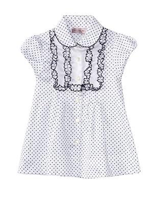 Monnalisa Girl's Dotted Short Sleeve Blouse (White)