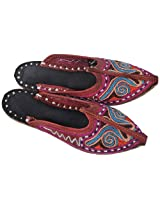 Leather-Brown Slippers for Kids with Multi-Color Ari Embroidery - Pure Leather
