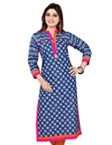 Black Kite Women's Cotton Printed Kurta (K0368-L_Blue_Large)