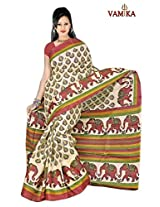 Bhagalpuri Silk Printed Cream Bollywood Saree - VMS80021