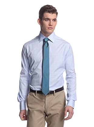 Oxxford Men's Spread Collar Dress Shirt (Blue/White Prince Of Wales)