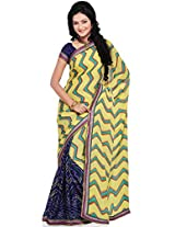 Utsav Fashion Women's Yellow and Royal Blue Faux Crepe Saree with Blouse