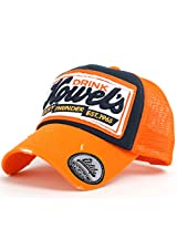ililily Howel's Distressed Vintage Cotton Baseball Mesh Cap Snapback Trucker Orange AD